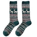 YWLINK Winter Elch Rudolf Weihnachten Midrohrsocken Retro Baumwolle Frauen Warm Mode Weihnachten Geschenk