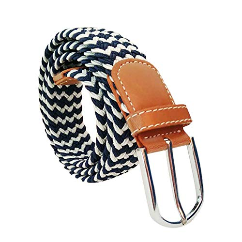 Oliviavane Herren Gürtel Unisex Mode Belt Leder Canvas Gewebt Elastische Stoffgürtel Stretch Dornschließe Jeansgürtel Verstellbarer Herrengürtel