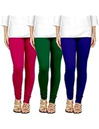 Chudidar Cotton Leggings Womens/Girls/Ladies By Ancientstar (pack Of 3) (3XL, Pink Darkgreen Purple)
