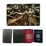 Muster PU Passdecke Inhaber // M00103971 Jagdhunde Jagdrucksack // Universal passport leather cover
