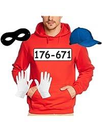 SET GANGSTER BANDE KOSTÜM - FASCHING - KARNEVAL - Sweatshirt mit Kapuze, MÜTZE, MASKE + HANDSCHUHE - S M L XL 2XL 3XL