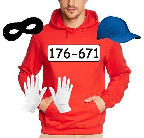 SET GANGSTER BANDE KOSTÜM - FASCHING - KARNEVAL - Sweatshirt mit Kapuze, MÜTZE, MASKE + HANDSCHUHE - rot Gr.S (Gangster Kostüm Für Mädchen)