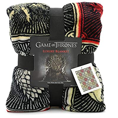 Game of Thrones Gifts Merchandise GOT Blanket Super Soft Luxury Bed Throw Stark Lannister Targaryen Greyjoy Baratheon Tyrell Great House Symbols Westeros