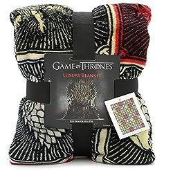 Game of Thrones Gifts Merchandise GOT Decke Super Soft Bettüberwurf Stark Lannister Targaryen Greyjoy Baratheon Tyrell Great House Symbols Westeros