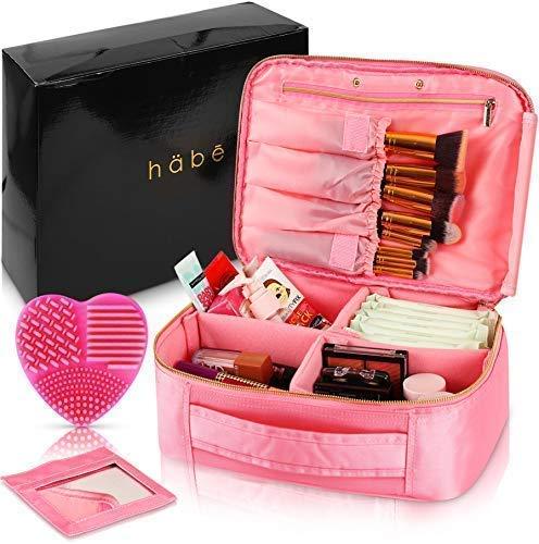 Make-up-Tasche mit Spiegel - Premium vegan Designer Make-up-Tasche für Frauen - Mehr Stauraum als 3 Kosmetiktaschen, Make-up-Taschen oder Make-up-Taschen (Bonus-Pinsel-Reiniger) - Pink -