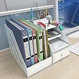 AFDK Contenitore in legno, grande capacità Stand up Collezionista A4 Nero Porta documenti Scuola Scrivania Scatola funzionale per libri Cartoleria per giornali, bianco,bianca