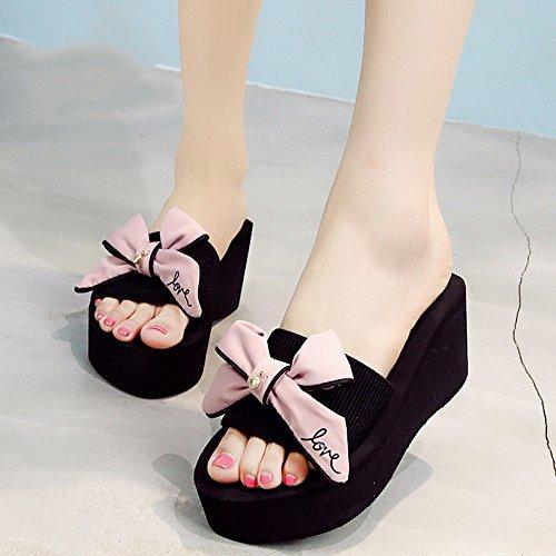 Estate Sandali Scarpe da spiaggia sandali di moda con tacco alto (nero / blu / grigio / rosa) Colore / formato facoltativo Rosa