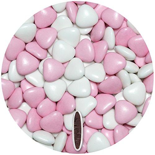 Schokoherzen MIX 1kg ca. 555 St. weiß-rosa glanz med. EinsSein® Gastgeschenke Hochzeit schokolade schokolinsen dragees Taufe herz candy bar bonboniere Hochzeitsmandeln Taufmandeln herzdragees