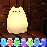 YOEEKU LED Multicolor de Silicona Portátil de luz de la Noche USB Animal Recargables para niños lámpara de la noche con el blanco cálido y 7 colores dormitorio duales de respiración modos de luz Sensible a la Luz Dormitorio Tap Control de la Lámpara del Cuarto de niños (gato de famosos)