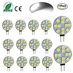 ei-home 14 pezzi bianco caldo 6000 K Side pin G4 lampadina a LED, 5050 – 12SMD DC 12 V LED luci per lettura, auto, camper, armadio illuminazione