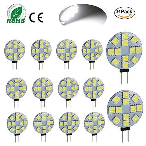 Ei-home 14 Lot Blanc 6000 K côté Pin G4 Ampoule LED, 3 W , 5050-12smd DC 12 V lumières LED pour la lecture, voiture, RV, Cabinet d'éclairage
