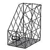 Desktop Book Magazin Zeitung Rack Regal Aufbewahrung Organizer doppelt Raster Eisen Schreibtisch Management Rack Halterung für Büro Wohnzimmer Schlafzimmer, schwarz