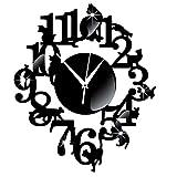 Wall Clock Clode Wall Sticker Orologio Orologio da Parete Unico Cat Black Mirror Design Moderno Home Decor (Nero)