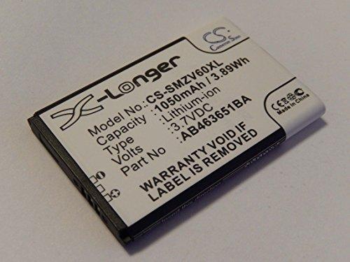 vhbw Li-Ion Akku 1050mAh (3.7V) für Handy Telefon Smartphone Samsung GT-S7220 Ultra Classic wie AB463651BA, AB463651BE, AB46365UG.