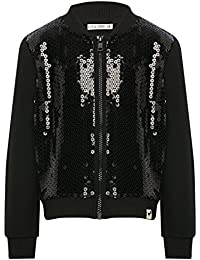 M&Co Kite and Cosmic Girl Black Sequin Front Long Sleeve Zip Fastening Jersey Baseball Bomber Jacket