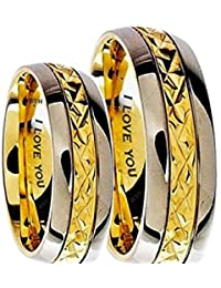 His And Hers 7mm Engraved I Love You Classic Unisex Two Tone Wedding Engagement Comfort Fit Jewellery Band Ring Set (Available Sizes L - Z+4) EMAIL US WITH YOUR SIZES