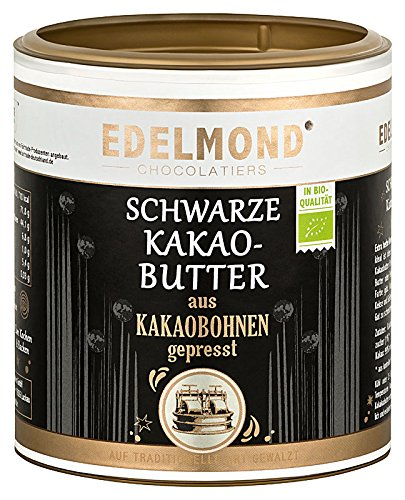Edelmond Schwarze Kakaobutter Bio, zum Kochen, Backen und Schokolade machen. Vegane dünn-flüssige Kuvertüre voll pflanzlich, ohne Zucker/Low Carb (250 g)