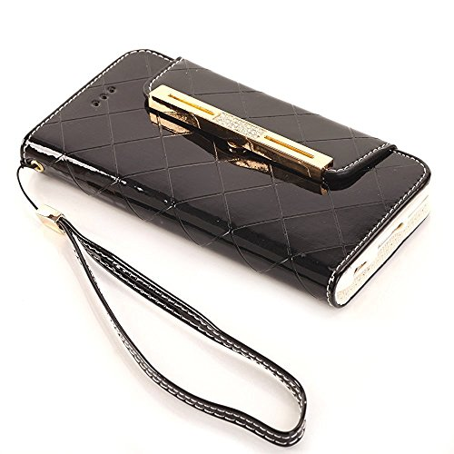 iPhone 8 Wallet Case,elecfan® Women Cute Style Candy Color PU Leather Stand Cover Flip Lady Multi Envelope Wristlet Handbag Wallet Case with Cards Slots Card Holder(iPhone 8, Weiß-A02) Schwarz-A01