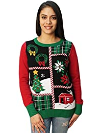 40e63b5d7d326 Ugly Christmas Sweater Women s Christmas Collage LED Light Up Sweater Black
