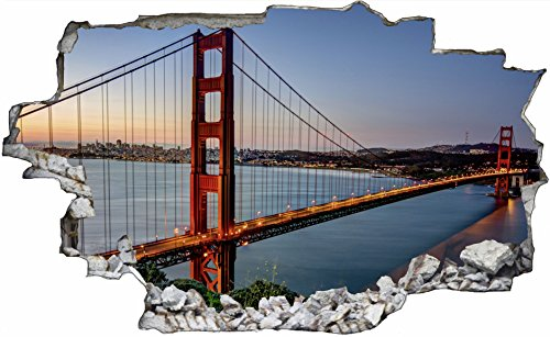 DesFoli Golden State Bridge Brücke San Francisco USA 3D Look Wandtattoo 70 x 115 cm Wandbild Sticker Aufkleber C006