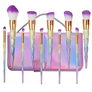 Ensemble de brosse de maquillage de licorne,BYBO 10 Pcs Brosses de Maquillage Professionnelles Brosses à ombre à paupières à la puce Pinceaux à sourcils Blush Blending Brushes