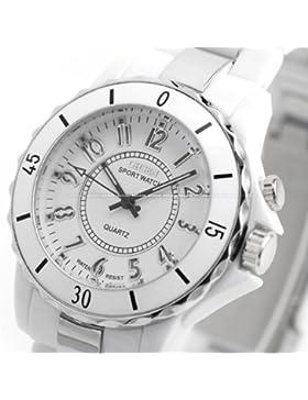 Orrorr AMPM24 Oshen Wei?? Sport Fashion Multi-Color- LED- Backlight -Dame-Girl Kunststoff -Uhr-Geschenk OHS001