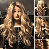 WCS Perücken Europäische und amerikanische Mode Perücke Damen große Welle Gold lange lockige Haare Rose Net Perücke Haube