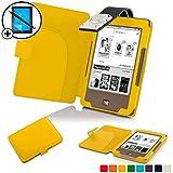 Forefront Cases® Tolino Page Shell Hülle Schutzhülle Tasche Bumper Folio Smart Case Cover Stand mit LED Licht - Leicht mit Rundum-Geräteschutz inkl. Eingabestift und Displayschutz (Gelb)
