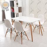 Schindora® Charles & Ray Eames Inspired Eiffel DSW Retro Design Wood Style Chairs and Table Set for Office Lounge Dining Kitchen - White
