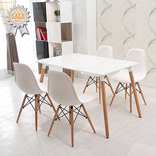 Ensemble table et chaises en bois Charles & Ray Eames Schindora®, inspiré de la tour Eiffel - Design rétro, bureau, salle à manger, salon, cuisine - Blanc