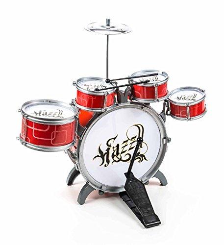 Eddy Toys Kinderschlagzeug / Drum-Set für Kinder, 5 Trommeln, 1 Becken, 2 Sticks, Steckmontage, Größe ca. 52 x 55 x 39 cm, lieferbar in den Farben Blau/Schwarz oder Rot/Weiß (Rot)