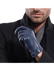 Matsu Hombres Invierno lambksin cálida y suave Guantes de piel con butten M1005