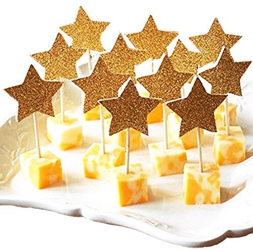 Partymaster 11 Hochzeits-/Party-Dekorationen, glitzernd, goldfarben, Stern-Design, 48 Stück -