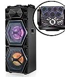 Sytech - altavoz portátil profesional inalámbrico bateria electrónica, 200 w, iluminación led, usb/sd, negro altavoz batería eléctrica sistema acústico profesional
