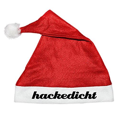 COOLEARTIKEL Weihnachtsmütze Nikolaus Mütze mit Aufdruck - Spruch lustiges Weihnacht-Accessoire für die Xmas Party (Schriftzug: hackedicht)