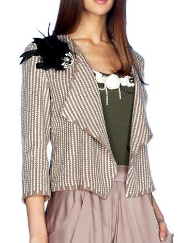 APART Damen-Blazer Pailletten-Blazer mit Federbrosche Grau Größe 32