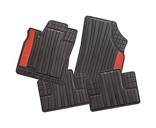 CarFashion 269191 Silverstone | Allwettermatte CD2 | Matten Satz 4-teilig | TPE Gummimatte schwarz | Farbiger Einsatz in Gambia Rot | Auto Fußmatten Set ohne Mattenhalter
