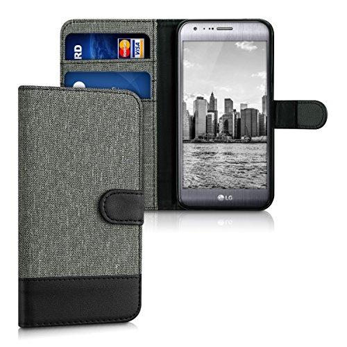 kwmobile LG X Cam Hülle - Kunstleder Wallet Case für LG X Cam mit Kartenfächern und Stand