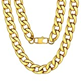 ChainsPro Collana A Catena Cubana Pesante Placcata in Oro 18 Kt da Uomo 18 mm 24 ''
