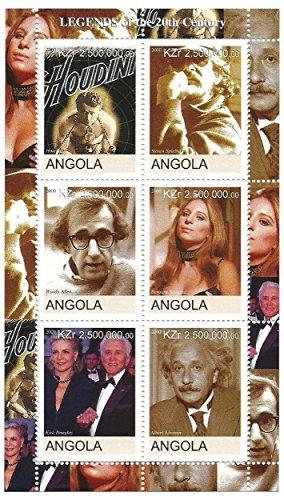 Legenden des 20. Jahrhunderts - 6 Briefmarken mit Symbolen des Jahrhunderts wie Steven Spielberg, Woody Allen, Barbara Streisand, Kirk Douglas und Albert Einstein / Angola / 2000 / MNH