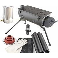 NJ estufa de leña para acampada portátil + calentador de agua de 2 litros y kit intermitente