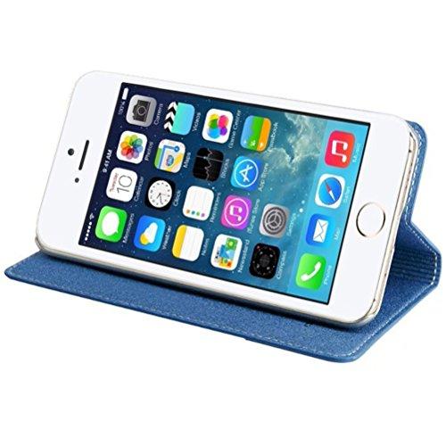MOONCASE iPhone SE Coque, Premium Housse en Cuir Etui à rabat Bookstyle Case avec Béquille pour iPhone 5 / 5S / iPhone SE Gris Bleu