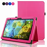 BQ Tablet Edison 3 10.1 Inch Case, ACdream Folio Premium PU Leather Cover Case for BQ Edison 3 10.1 inch tablet, Hot Pink