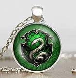 Harry Potter Hogwarts Slytherin Wappen Anhänger Glas mit Halskette Vintage silberfarben