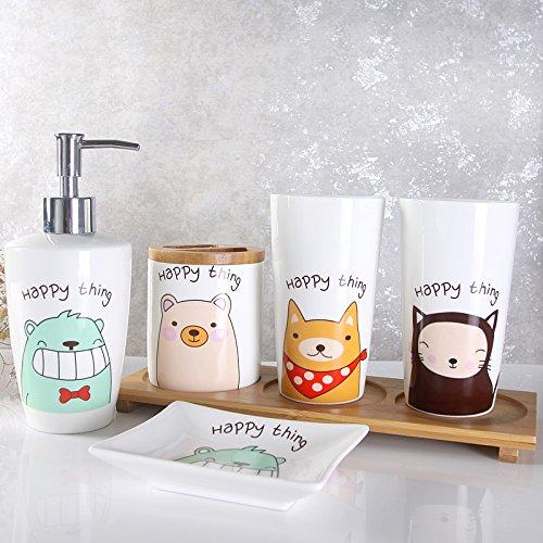 HJKY Badzubehör Set Brushing Cup Kit Bürsten WC waschen das Gesicht Familie Pack Keramik Eitelkeit setzt eine Familie von drei Zahnbürste Rack Kit, eine glückliche Sache B (Shell Bad Setzt)