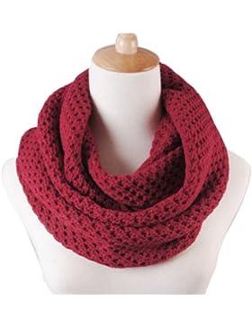 Butterme Moda Mujeres Invierno Cálido de Punto Crochet Neck Snood Scarf Warmer Loop Bufandas(Vino rojo)