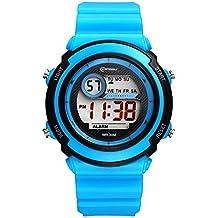 Deportivo LED Luminoso Alarma Digital Impermeable Correa de PVC Cuarzo Relojes Juveniles Relojes Para Niños, Azul Claro