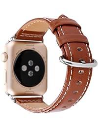 Magiyard Correa de pulsera banda, Para Apple Watch 38mm Correa de cuero banda de repuesto brazalete banda de reloj (marrón)