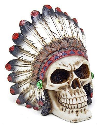 Bellaa Tribal Chieftain Mohawk Indianer Krieger Totenkopf mit Roach Skelett Figur Statue (Krieger-statue-figur)