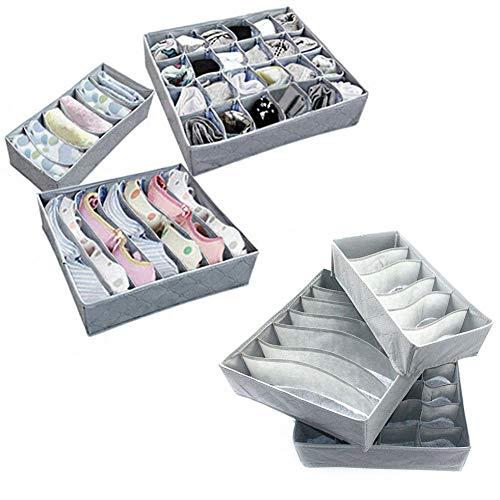 wdoit 1Set Mehrzweck-Aufbewahrungsbox Unterteiler mehrere einzelne Räume Kleidung Organizer Unterwäsche Socken BH Schals Krawatten Socken bin Sortierbox